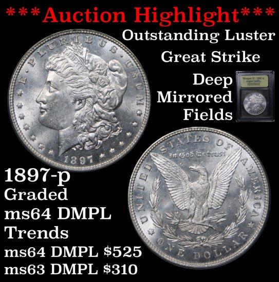 ***Auction Highlight*** 1897-p Morgan Dollar $1 Graded Choice Unc DMPL By USCG Deep mirrors (fc)