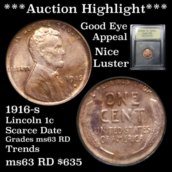 ***Auction  Highlight*** Scarce 1916-s Lincoln 1c Graded Select Unc RD by USCG Good eye appeal (fc)