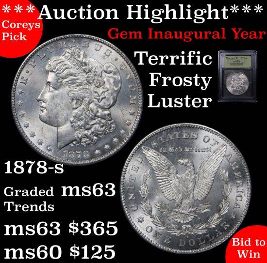 ***Auction Highlight*** 1878-s Morgan $1 Graded GEM Unc By USCG Fields & cheek near pristine (fc)