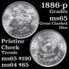 1886-p Morgan Dollar $1 Great clashed dies Grades GEM Unc Pristine cheek (fc)