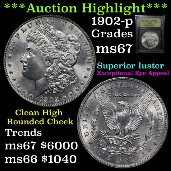 ***Auction Highlight*** 1902-p Morgan Dollar $1 Graded GEM++ Unc by USCG (fc)