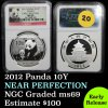 Early release NGC 2012 Chinese Panda ¥10 Yuan ¥10 Near Perfection Graded ms69 By NGC