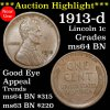 ***Auction Highlight*** 1913-d Lincoln Cent 1c Grades Choice Unc BN Good Eye Appeal (fc)