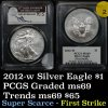 Super Scarce PCGS 2012-w Silver Eagle Dollar $1 West Point Mint Graded ms69 by PCGS