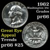 1962 Washington Quarter 25c Grades GEM+ Proof
