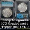 1880-p Morgan Dollar $1 Graded ms64 by ICG