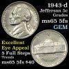 1943-d Jefferson Nickel 5c Grades GEM 5fs