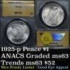 ANACS 1925-p Peace Dollar $1 frosty luster Graded ms63 By ANACS PQ for the grade