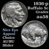 Superb color 1936-p Buffalo Nickel 5c Grades Choice AU/BU Slider