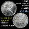1992 Silver Eagle Dollar $1 Grades GEM+ Unc