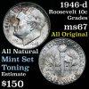 Nice Toning 1946-d Roosevelt Dime 10c very clean Grades GEM++ Unc