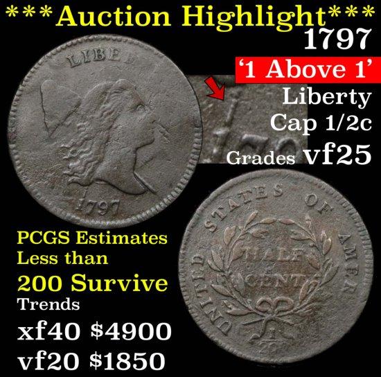 ***Auction Highlight*** 1797 1 above 1 Liberty Cap 1/2c Grades vf+ (fc)