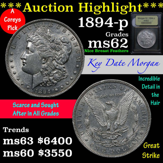 ***Auction Highlight*** 1894-p Morgan Dollar $1 Graded Select Unc by USCG (fc)
