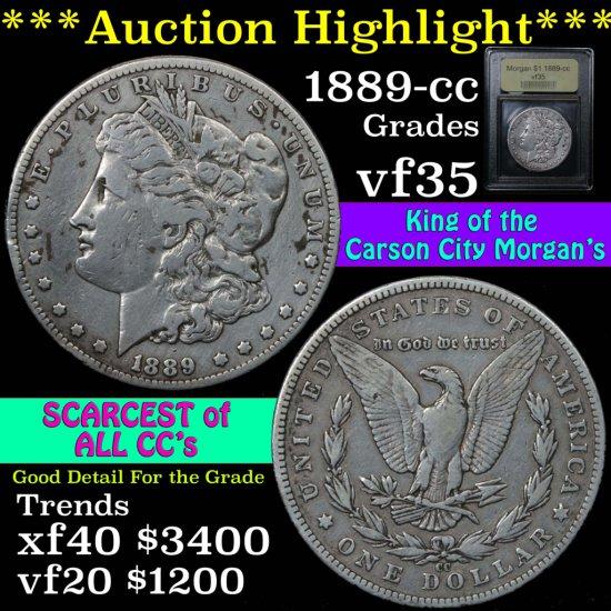 ***Auction Highlight*** 1889-cc Morgan Dollar $1 Graded vf++ by USCG. King