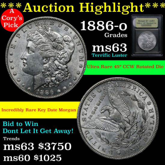 ***Auction Highlight** Ultra rare rotated die 1886-o Morgan Dollar $1 Graded Select Unc by USCG (fc)