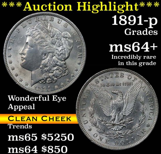 ***Auction Highlight*** 1891-p Morgan Dollar $1 Grades Choice+ Unc (fc)