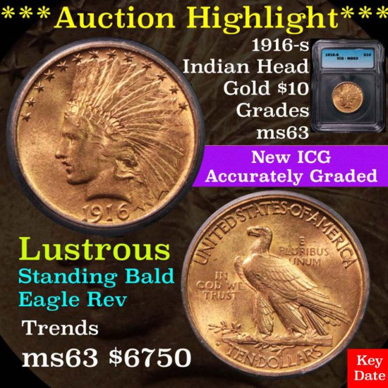***Auction Highlight*** 1916-s Gold Indian $10 Graded ms63 by ICG (fc)