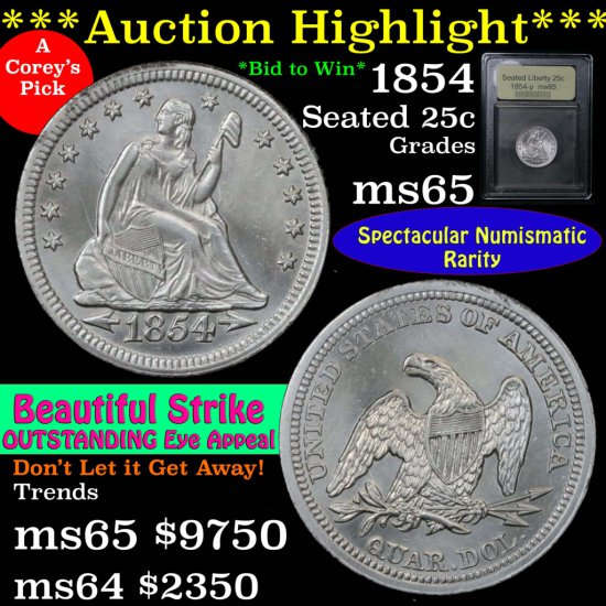 ***Auction Highlight*** 1854-p Seated Liberty Quarter 25c Graded GEM Unc by USCG Superb coin (fc)