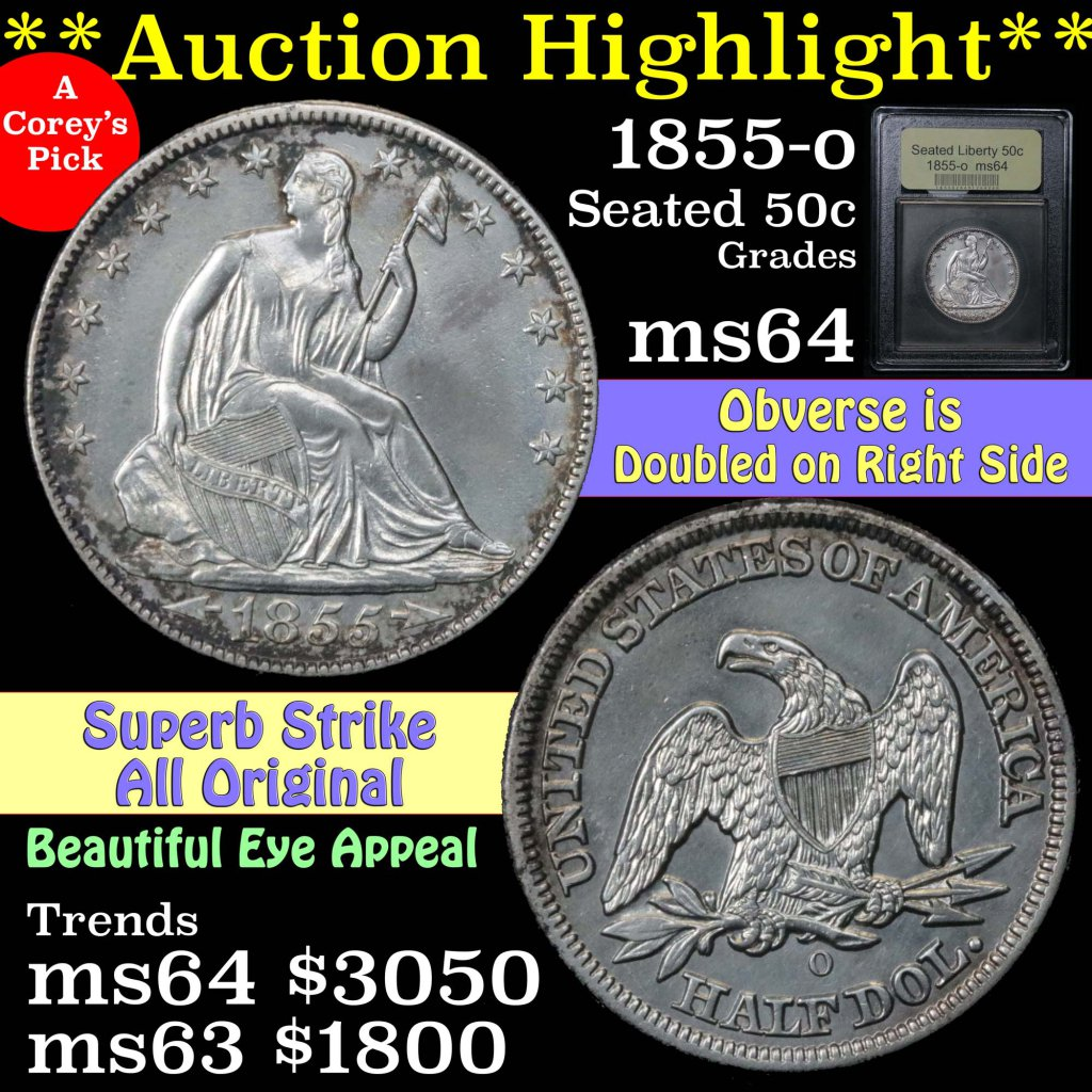 ***Auction Highlight*** 1855-o Seated Half Dollar 50c Doubled obverse Graded Choice Unc By USCG (fc)