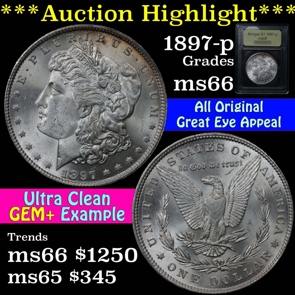 ***Auction Highlight*** 1897-p Morgan Dollar $1 Graded Gem+ Unc by USCG. Su