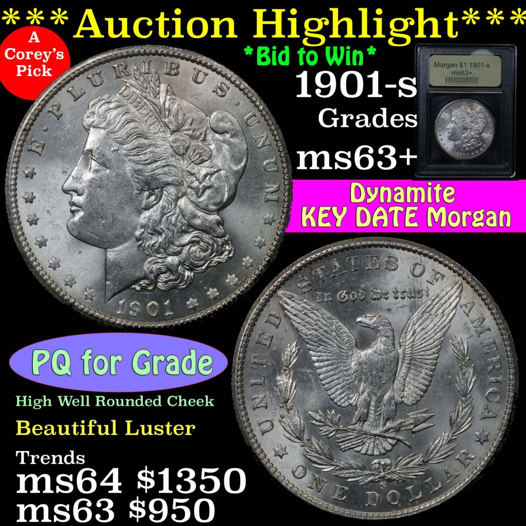 1901-s Morgan Dollar $1 Graded Select+ Unc by USCG