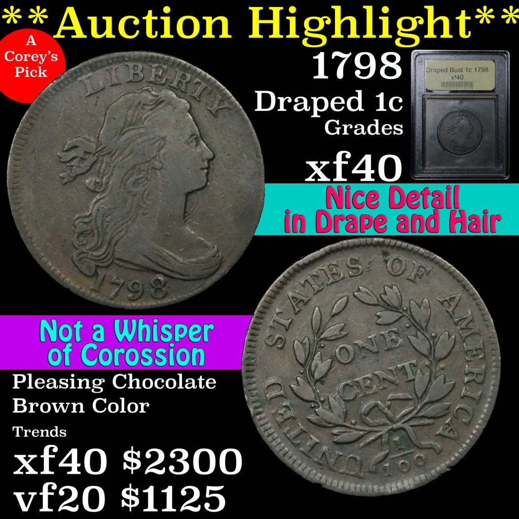 ***Auction Highlight*** 1798 Draped Bust Large Cent 1c Graded xf by USCG. T