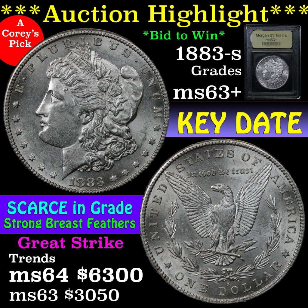 ***Auction Highlight*** 1883-s Morgan Dollar $1 Graded Select+ Unc by USCG.