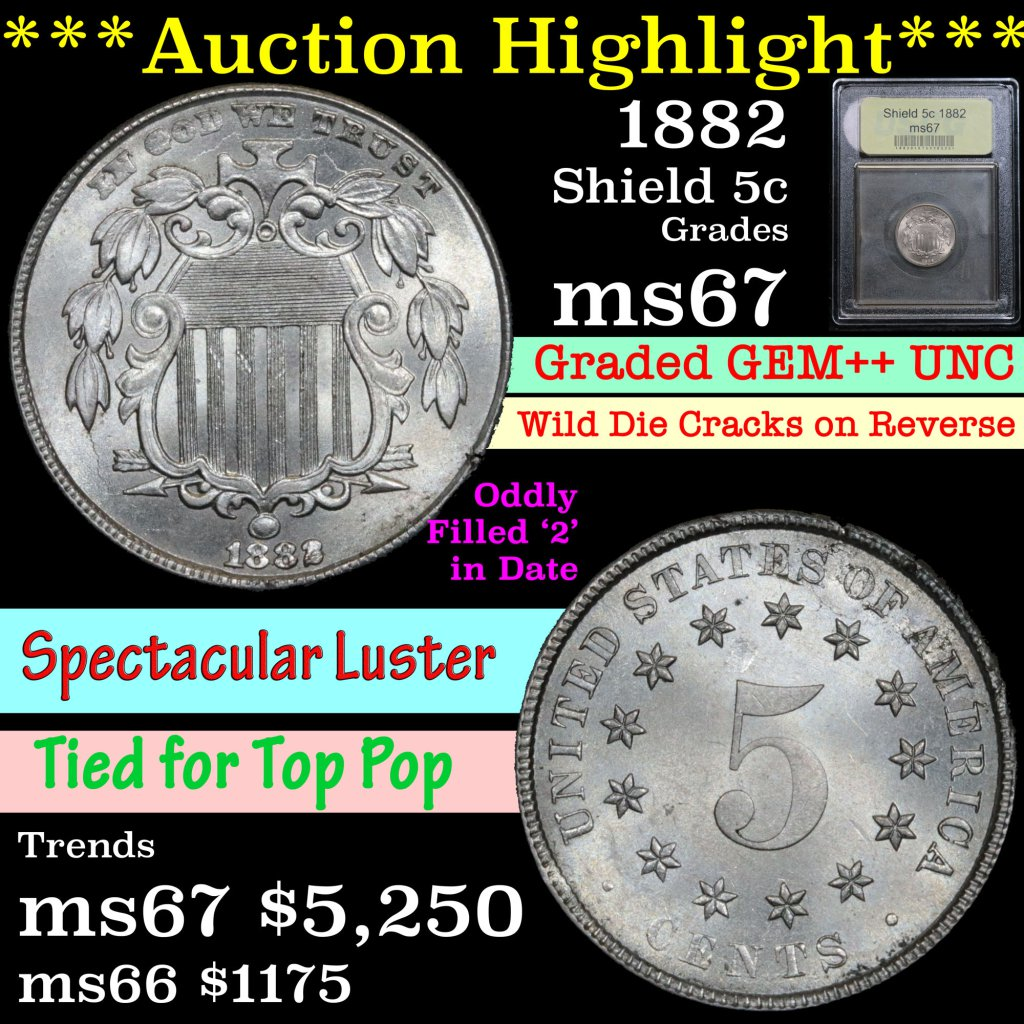 ***Auction Highlight*** 1882 Shield Nickel 5c Graded GEM++ Unc by USCG (fc)