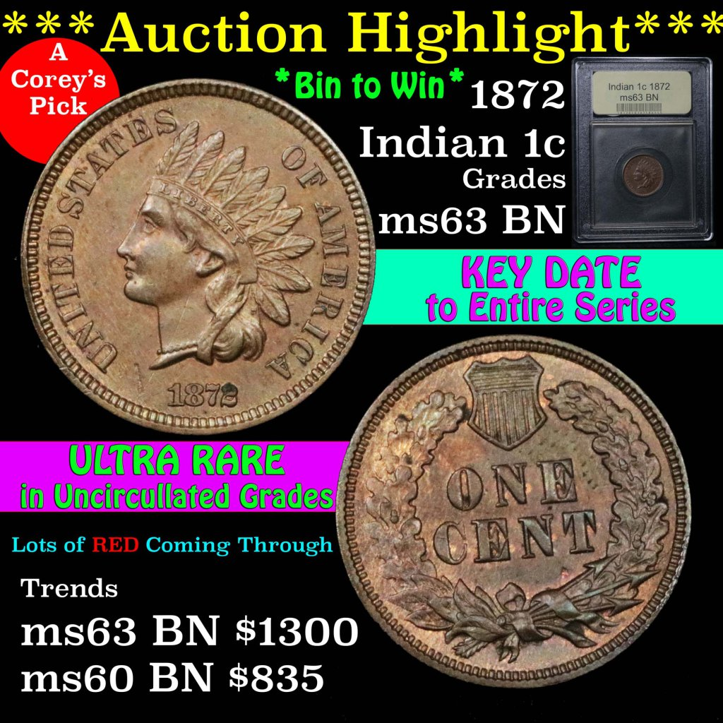 ***Auction Highlight*** 1872 Indian Cent 1c Graded Select Unc BN by USCG. K