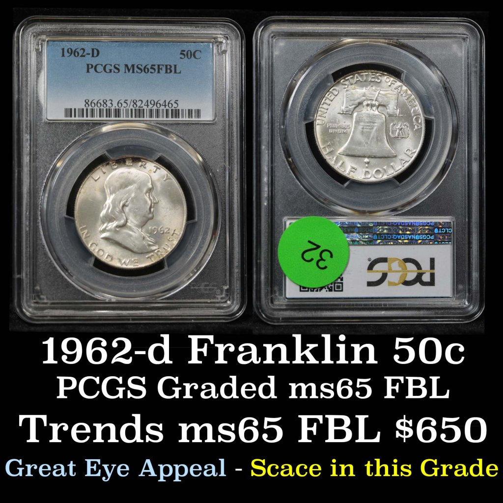 ***Auction Highlight*** PCGS 1962-d Franklin Half Dollar 50c Graded ms65 fbl By PCGS (fc)