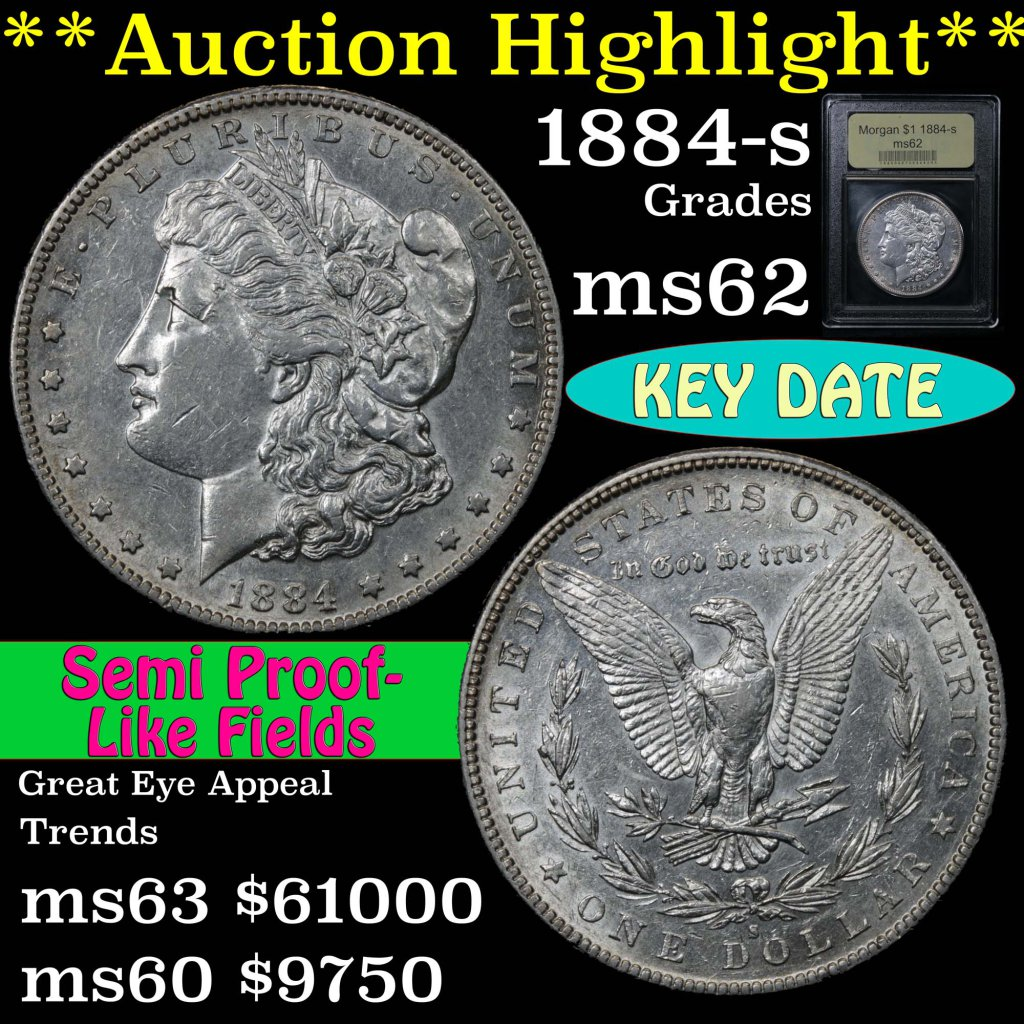 ***Auction Highlight*** 1884-s Morgan Dollar $1 Graded Select Unc by USCG.