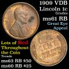 1909 VDB Lincoln Cent 1c Grades Unc+ RB