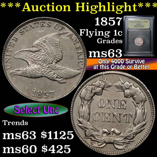 ***Auction Highlight*** 1857 Flying Eagle Cent 1c Graded Select Unc by USCG