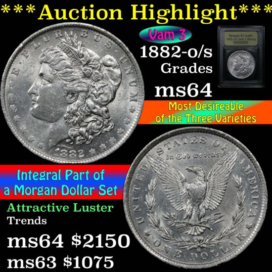 ***Auction Highlight*** 1882-o/s Vam 3 Morgan Dollar $1 Graded Choice Unc by USCG (fc)