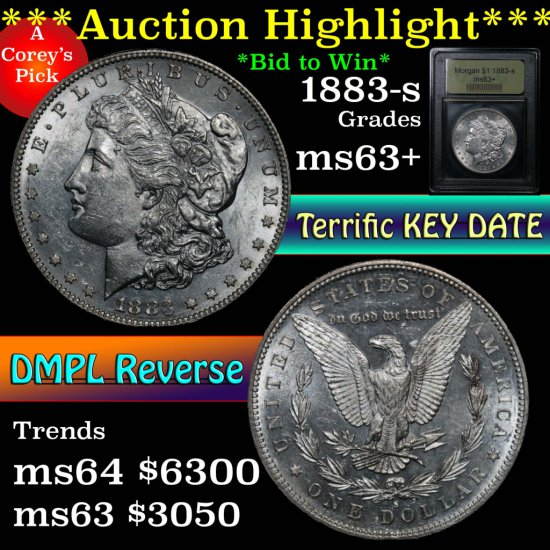 ***Auction Highlight*** Key date 1883-s Morgan Dollar $1 Graded Select+ Unc by USCG (fc)