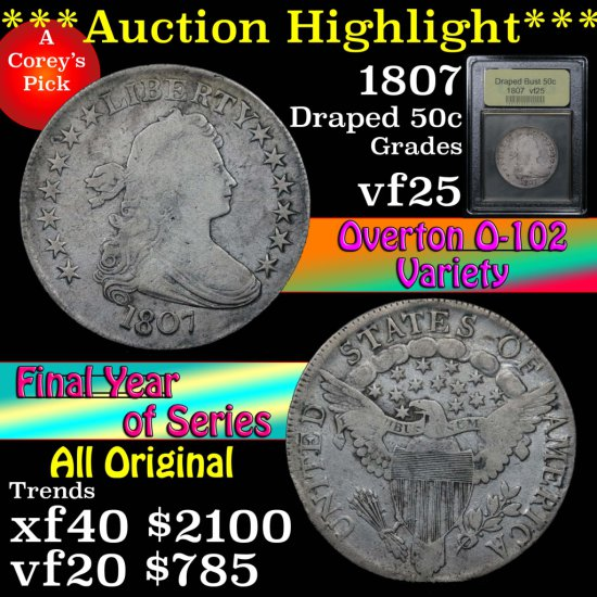 ***Auction Highlight*** 1807 Draped Bust Half Dollar 50c Graded vf+ by USCG