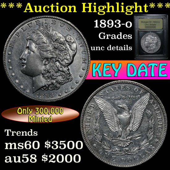 ***Auction Highlight*** 1893-o Morgan Dollar $1 Graded Unc Details by USCG.