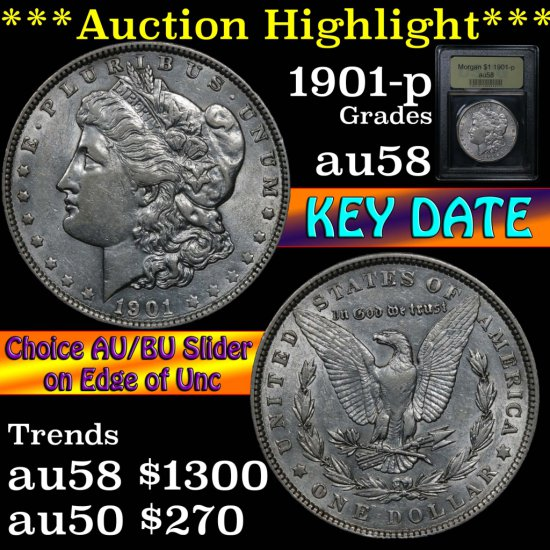 ***Auction Highlight*** Key date 1901-p Morgan Dollar $1 Graded Choice AU/BU Slider by USCG (fc)