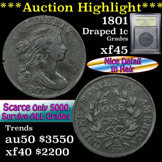 ***Auction Highlight*** 1801 Draped Bust Large Cent 1c Graded xf+ by USCG (fc)
