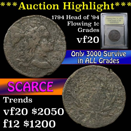 ***Auction Highlight*** 1794 head of '94 Flowing Hair Liberty Cap Large 1c Graded vf by USCG (fc)
