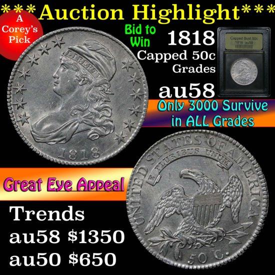 ***Auction Highlight*** 1818 Capped Bust Half Dollar 50c Graded Choice AU/BU Slider by USCG (fc)