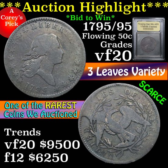 ***Auction Highlight*** 1795/95 Flowing Hair half dollar 50c Graded vf, very fine by USCG (fc)