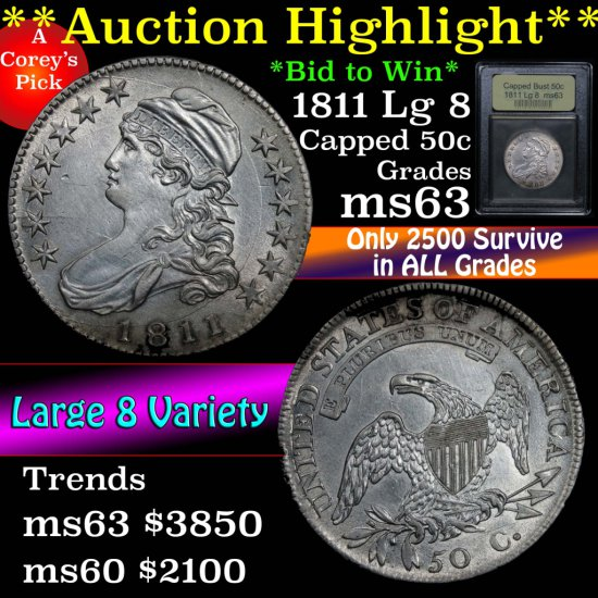 ***Auction Highlight*** 1811 Capped Bust Half Dollar 50c Graded Select Unc by USCG (fc)