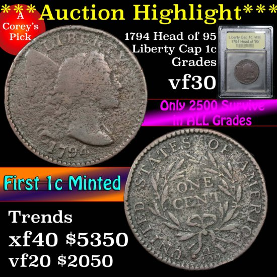 ***Auction Highlight*** 1794 Head of '95 Liberty Cap Large Cent 1c Graded vf++ by USCG (fc)