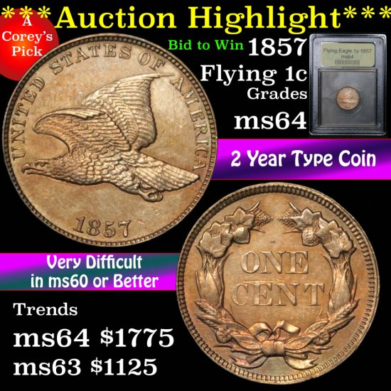 ***Auction Highlight*** 1857 Flying Eagle Cent 1c Graded Choice Unc by USCG (fc)