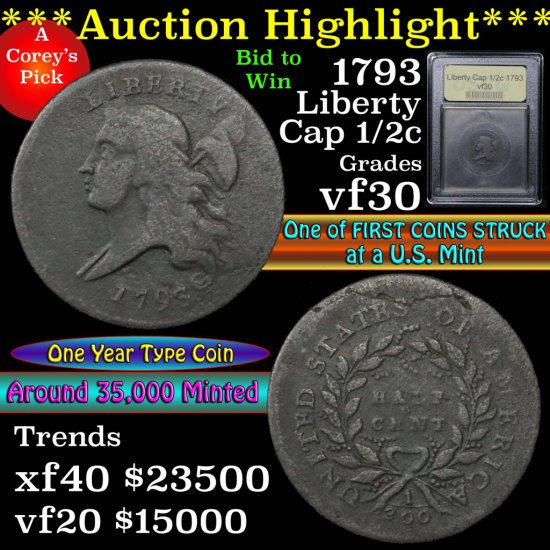 ***Auction Highlight*** 1793 Liberty Cap Half Cent 1/2c Graded vf++ by USCG (fc)