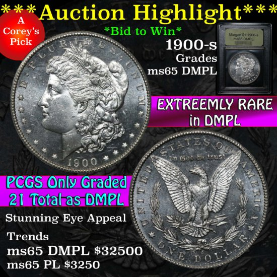 ***Auction Highlight*** 1900-s Morgan Dollar $1 Graded GEM Unc DMPL by USCG (fc)