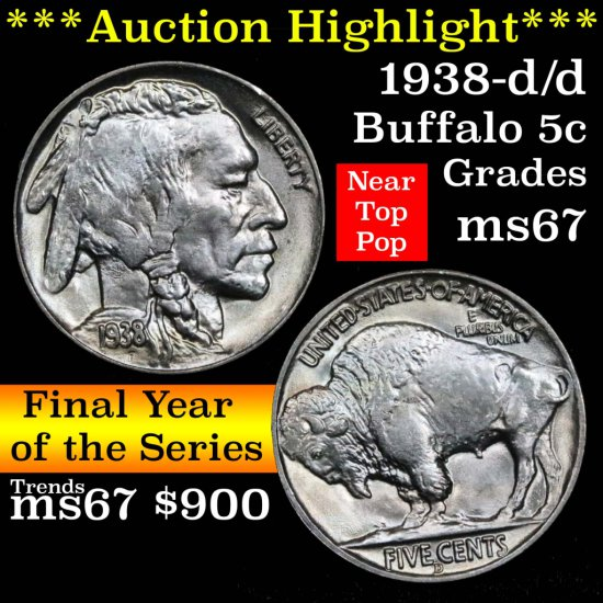 ***Auction Highlight*** 1938-d/d Buffalo Nickel 5c Grades GEM++ Unc (fc)