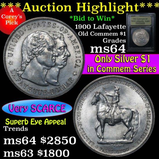 ***Auction Highlight*** 1900 Lafayette Lafayette Dollar $1 Graded Choice Unc by USCG (fc)