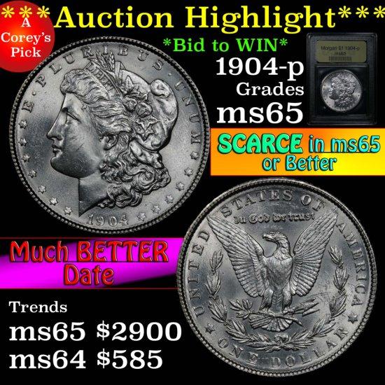 ***Auction Highlight*** 1904-p Morgan Dollar $1 Graded GEM Unc by USCG (fc)
